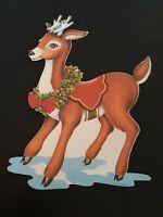 Vtg Christmas Rudolph Reindeer Die Cut Large Beistle Holiday Decor Hang Retro