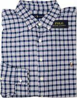 NWT $98 Polo Ralph Lauren Long Sleeve Shirt Mens Navy Blue Plaid Oxford NEW