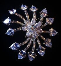 BROOCH PIN Using Swarovski Crystal Gemstone Fashion Wedding Bridal Silver New
