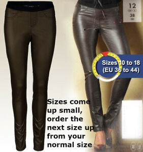 Metallic Look Jeggings Size 10 12 14 16 Stretchy Satin Leggings Faux Leather
