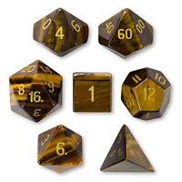 Wiz Dice Handmade Stone Dice, Polyhedral Set of 7, Tiger's Eye