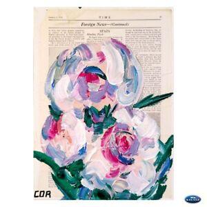 CORBELLIC IMPRESSIONISM VINTAGE TIME MAGAZINE FLOWER CONTEMPORARY DECOR ARTWORK