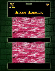 Pack 2 Halloween Bloody Gauze Bandages Blood Stained Fancy Dress Costume Prop