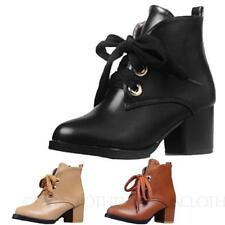 Ankle Boots Lace Up Synthetic Solid Shoes for Women
