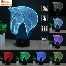 Horse Head 3D Acrylic LED 7 Color Night Light Home Decor  Table Art LampGift
