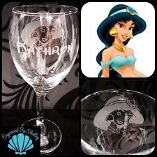 Personalised Disney Princess Jasmine Wine Glass! Handmade FREE Name Engraving!