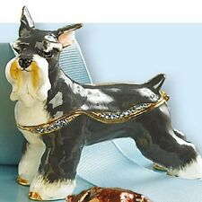 SCHNAUZER DOG Trinket Box With Swarovski Crystals & Hinged Lid New N Box REG $50