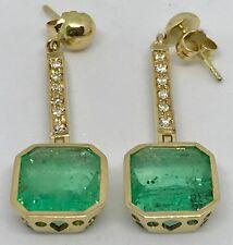 11.5 Carats NEW Earrings COLOMBIAN Natural MUZU  EMERALDS & Diamonds STUDS 18K G