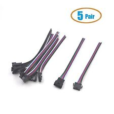 Electop 5 Pair 5 Pin 13cm Male and Female RGBW LED Connector Cable Wire Plug ...