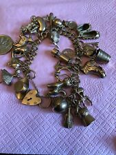 Vintage 9ct Gold Charm Bracelet With 26 Charms, Weighs 56Gms