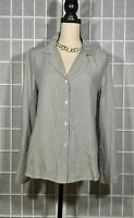 CLOTH & STONE BLOUSE NWOT STRIPED BUTTON UP SHIRT CAREER WORK RAYON