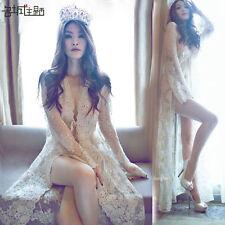 Queen Style Beige Lace Maternity Dress Longsleeve Photography Props Beach Dress
