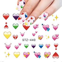 Valentines Nail Art Water Decals Stickers Decoration Love Hearts Gel Polish 440