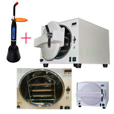 FDA 18L Dental Autoclave Medical Steam Pressure Sterilizer Trays + Curing Light