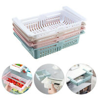 Fridge Drawer Basket Refrigerator Stretch Organizer Kitchen Storage Rack Holder