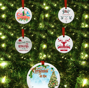 Wooden Personalised Ceramic Christmas Tree Decorations.
