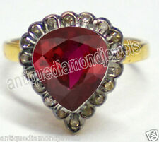 0.85cts SINGLE CUT DIAMOND RUBY 925 SILVER VICTORIAN LOOK RING