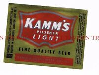 1940s IRTP Kamm's Pilsener Light metallic 12oz Mishawaka Beer Label Tavern Trove