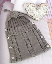 Aran Baby Sleeping Bag Tassel Hood - Button Sides 0 - 3 Months Knitting Pattern