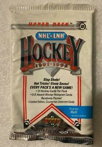 1991-92 NHL Upper Deck Ice Hockey 1 Pack - Find the Hull - 12 Cards