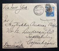 1904 San Luis Potosi Mexico Cover To Copenhagen Denmark Via New York