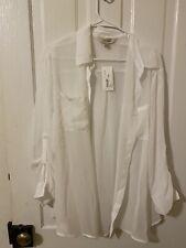 Decree Womans Sheer White Blouse NWT XL