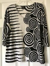 VALENTINA* Print Top Silver Studded Stretchy Slinky XL, Black White,