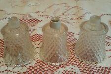 3 Vintage Clear Glass Diamond Peg Votive Candle Cups Holders