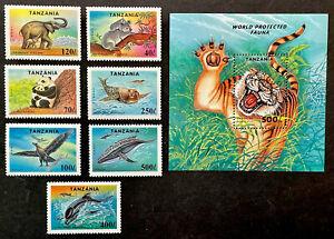 TANZANIA ENDANGERED SPECIES STAMPS SET + SS 1994 MNH TIGER WILD ANIMALS WILDLIFE
