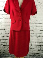 Tahari By ASL Petite Women Suit Skirt Jacket Red Textured Pleated Vent SZ 10P