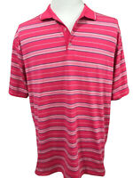 Nike Golf Mens Pink Blue White Stripe Polo Shirt Size XL Short Sleeve Fit Dry