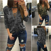 Sexy Women V-Neck Lace Up Camo T-Shirt Long Sleeve Casual Loose Blouse ShirtFNT