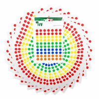 3,500 Sticky Coloured 8mm Labels Dots Round Circles Self Adhesive Asstd Colours