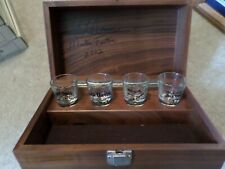 Jack Daniels Wood Presentation Box signed Set of Four Shot Glasses Never used