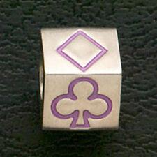 Casino Gambling Poker Charm Stainless Steel Beads Fit European Bracelets Purple