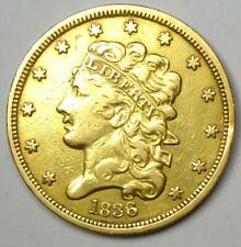 1836 Classic Gold Half Eagle $5 Coin - XF Details (EF) - Rare Type Coin!