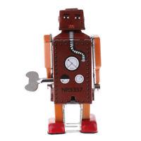 Retro Wind Up Red Walking Robot Clockwork Mechanical Tin Toy Kids Xmas Gift