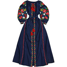 "Ukrainian embroidered Boho style blue dress vyshyvanka ""Riot of color"".All sizes"