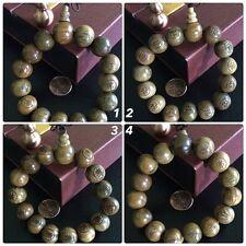 "Fragrant 15 mm Green Sandalwood Carved Buddha Prayer Beads Mala Bracelet 7"""