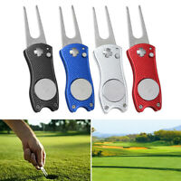 AU_ Stainless Steel Foldable Ball Marker Golf Divot Tool Pitch Groove Repair Cle