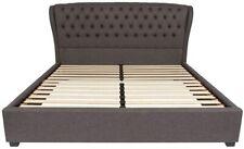 Barletta Tufted Upholstered King Size Platform Bed in Dark Gray Fabric New