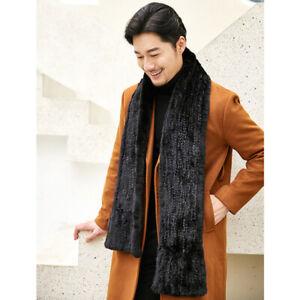 Handmade Knit Real Mink fur scarf Men's fur muffler Scarves soft luxury 180x20cm