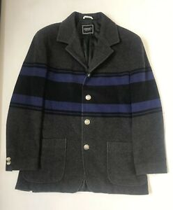 Versace Jeans Couture Mens Grey Wool Coat Blue Stripe Size Medium K12