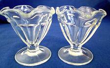 VINTAGE PAIR (2) CLEAR GLASS SHERBET GLASSES - 6 OZ