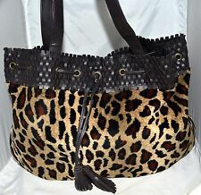 Lancome Faux Leopard Fur & Brown Faux Leather Tote Bag w/ Tassel Drawstring Top