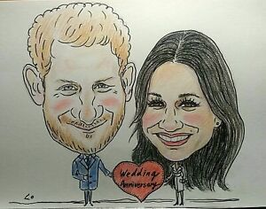 A4 Personalised colour caricature of 2 people, get your petty wonderful gift