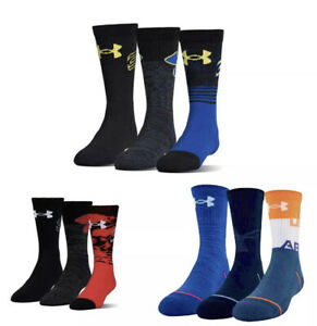 Under Armour UA Boys Kids Youth Phenom Basketball Socks 3 Pack Curry 13.5K-4Y