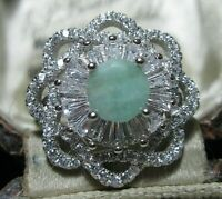 Beautiful STERLING SILVER Real Emerald Gem Stone Art Deco Revival RING M 1/2 6.5