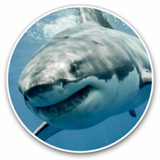2 x Vinyl Stickers 10cm - Cool Great White Shark Ocean Diving Cool Gift #8474
