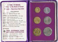 Israel Official Mint Lira Coins Set 1972 Uncirculated
